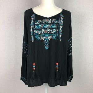 Kyla Seo Black Embroidered Top Size Small